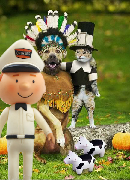 Thanksgiving scene with dog, cat and squishy cows