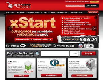 express hosting homepage