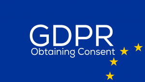 Text: GPDR and Obtaining Consent with EU symbol.